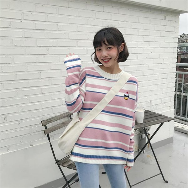 Pulls de femmes japonais Kawaii Ulzzang rayé Cartoon Cake Pull brodé Femme Coréenne Harajuku Vêtements Pour Femmes
