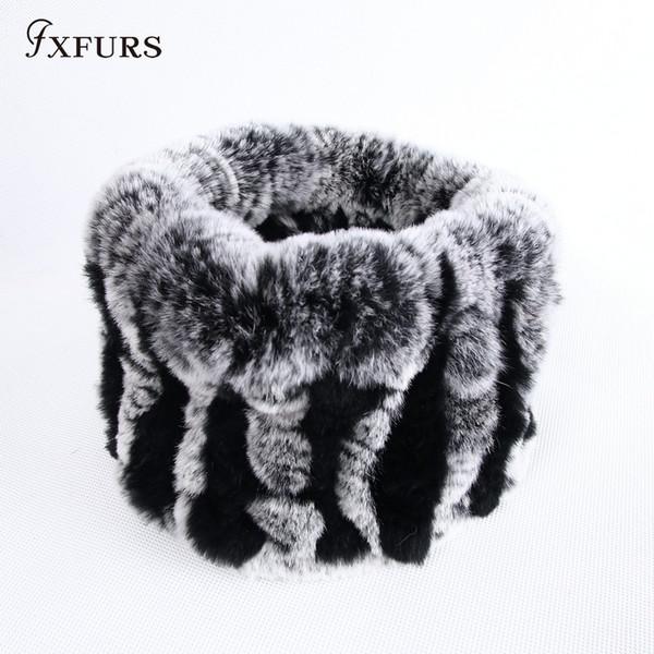 wholesale 2019 Fur muffler scarf pullover women's autumn and winter thermal rex rabbit hair scarf winter warm fur ring headband