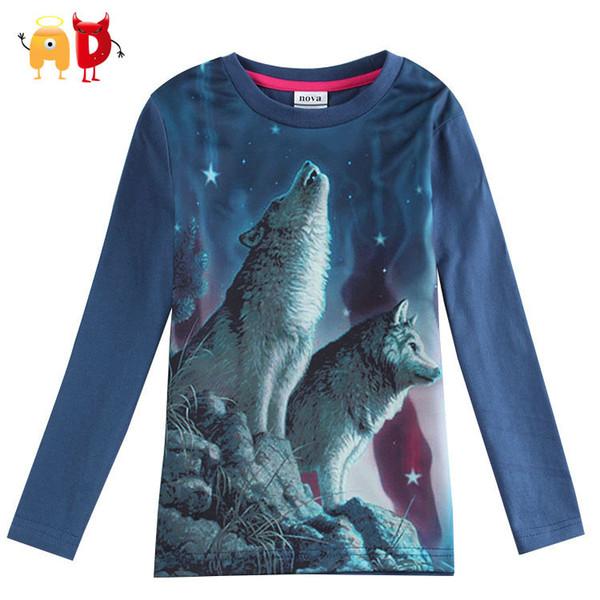 good quality Spring Boys T-shirts Full Sleeve 3D Print Dark Blue Kids T shirt Kid Clothes Children Clothing Minion roupas infantis menino