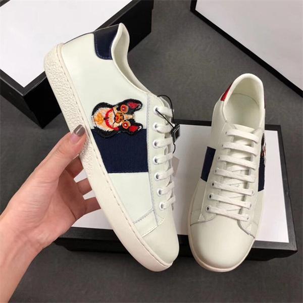 Sneaker di lusso 100% Ace in pelle sneaker uomo donna Scarpe da ginnastica classiche pitone ape tigre Fiore ricamato Cock Love sneakers
