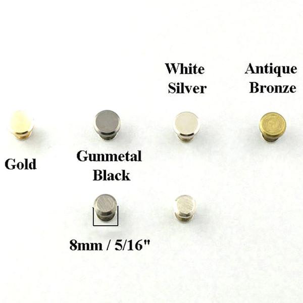 8mm Flat Head Concho Stud Screwback Screw Back Shoe Blacelet Purse Leathercraft Gold