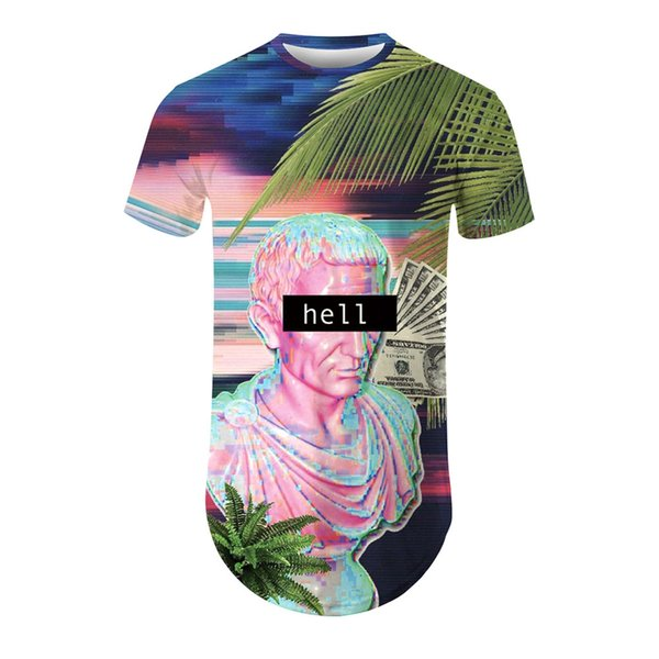 Yeni Yaz Marka büyük boy 3D Renkli Şekil T-shirt adam yuvarlak yaka kısa kollu T-shirt erkekler moda t gömlek kısa kollu