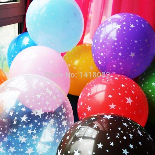 Venta al por mayor-10pcs 12 pulgadas de grosor 2.8g romántica estrella de cinco puntas globos látex bebé cumpleaños fiesta decoración boda suministros compras gratis