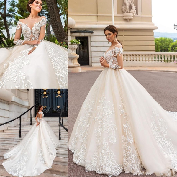 2019 nouvelle arrivée une ligne robes de mariée pure cou voir voir manches longues en dentelle appliques dos ouvert chapelle train robes de mariée plus la taille
