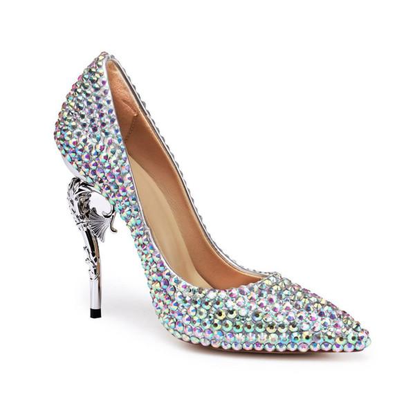 Marka lüks elmas taklidi gelinlik sivri burun koyun derisi 11.5cm ince yüksek topuklu bayan seksi banket ayakkabı boyutu 35-40 pompalar