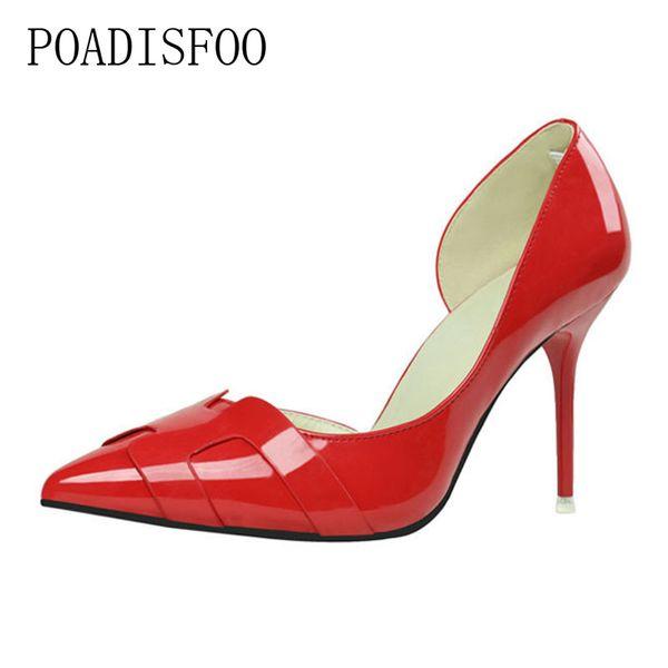 Дизайнерские туфли POADISFOO 2019 женщины насосы тонкие на высоком каблуке полые указал лакированная кожа H для женщин .ZWM-6090-1