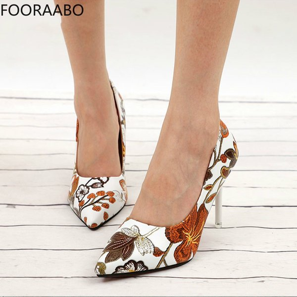 Shoes Fooraabo Women Sexy Pumps High Heels Ladies Floral Printing Shallow Slip On Pointed Toe Office Female Fashion Footwear