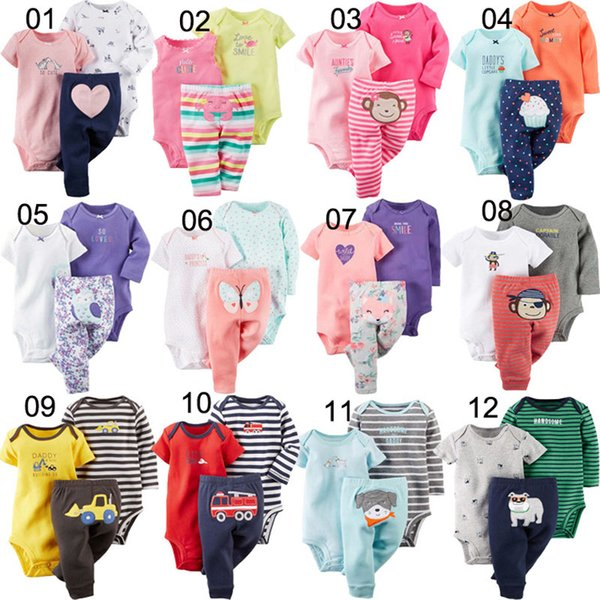 32 Colors Newborn Baby Boy Clothes Toddler Animal Toys Printing Girls Long Short Sleeves Romper Trousers Kids Designer Clothes 3pcs/set
