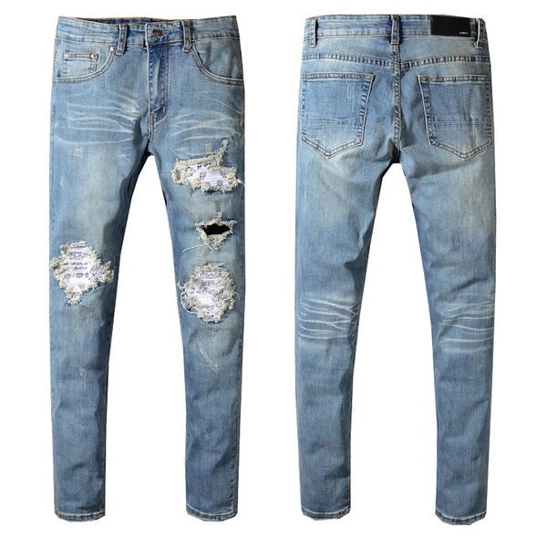 7ad1393730f79 2019 Nouveaux Trous Jeans Blanc Homme Zipper Décoration Jeans Pantalon Pour  Casual Slim Fit Mode Vêtements