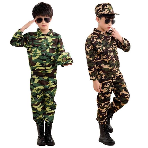 Forze speciali Abbigliamento per bambini Uniforme da esplorazione dell'esercito Se Camouflage Coat + Pants + Hat Training Performance Costumes 100-180CMLet the baby