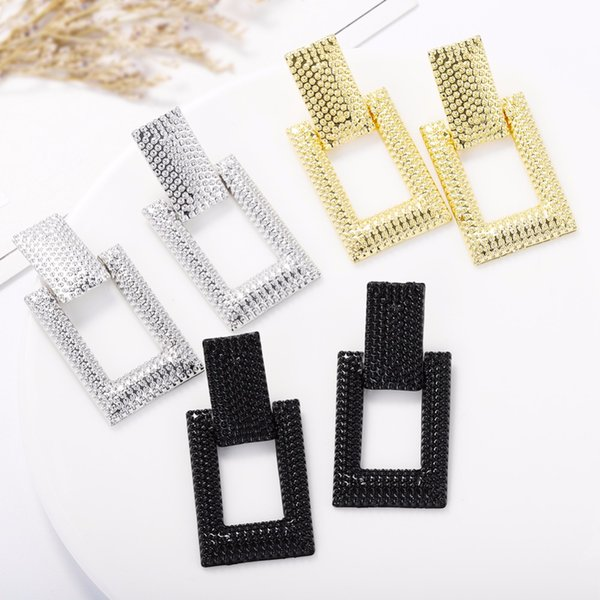 Girlgo Charm Metal Beads Square Drop Earrings For Women Fashion Jewelry Bridal Pendant Statement Earrings Charm Dangle Brincos