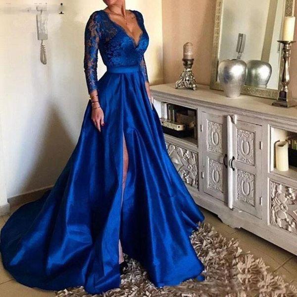 2019 Royal Blue Plus Size Prom Dresses V Neck Lace Appliques Long Sleeve  Front Split Formal Evening Dresses Party Gowns Cute Prom Dresses Dresses On  ...