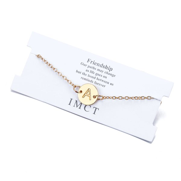 Europe and the United States simple DIY letter bracelet anklet cross-border for small golden disc smooth letter bracelet direct sales