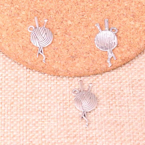 133 stücke Antikes Silber Überzogene garn ball stricken häkeln Charms Anhänger fit Machen Armband Halskette Schmuckzubehör Schmuck Diy Handwerk 26 * 12mm