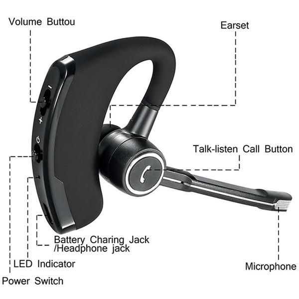 V8 V8S Business Bluetooth Headset Wireless Earphone with mic for iPhone Bluetooth V4.1 Phone Handsfree Wireless Earphones noise canceling