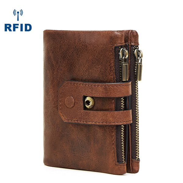 RFID Genuine Leather Trifold Men Wallets Hand Made Cow Leather Multifunctional Short Wallet Card Holder Coin Bag Double Zipper X422