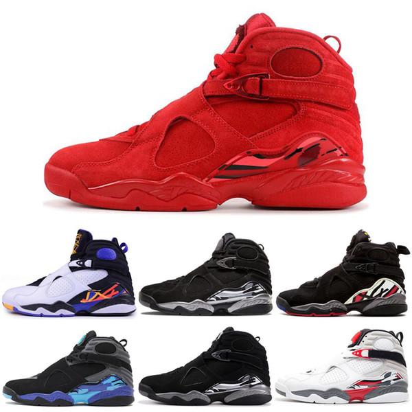 2019 Hommes Chaussure De Basket-ball 8s Saint Valentin Aqua Compte À rebours Pack 8 Mens retro rétros Formateurs Designer Sport Sneakers Taille 7-13
