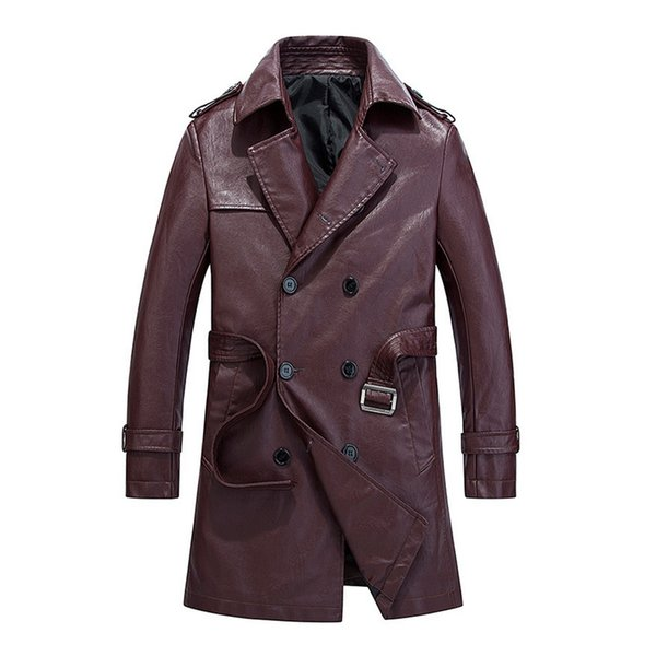 Tide Men's Leather Coat High Quality Washed Faux Leather Long Trench Coat Double Breasted Slim PU Overcoats With Belt