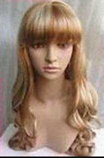 WIG Free Shipping >NEW bangs Stylish long blonde curl women's artificially made hair wigs