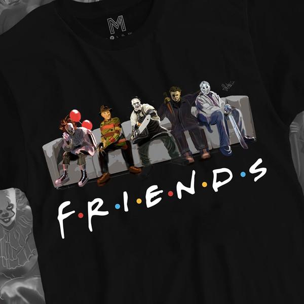 Korku Arkadaşlar Gömlek Korku Filmleri Cadılar Bayramı Hediye Siyah Pamuk Erkekler T-Shirt M-3XL Komik ücretsiz kargo Unisex tee