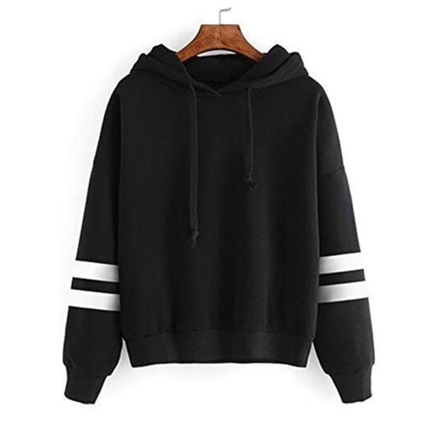 Acheter 2019 Sweat Shirt Européen Et Américain Femme Manteau Panneau De Couleur Unie À Manches Longues Cordon De Serrage À Capuche En L Haut De $10.82