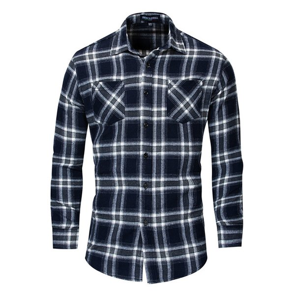 2019 new fashion plaid shirt men long sleeve casual work shirts 100% cotton camisa masculina male clothes,fm173, White;black