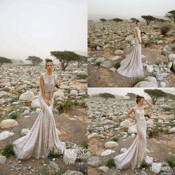 Vintage Bohemian Brautkleider 2019 Spitze Applizierte Jewel Neck Tassel Mermaid Brautkleider Sweep Zug Land Brautkleid Garden Wear