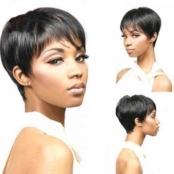 Fashion Human Hair Pixie Cut Wigs 100% Virgin