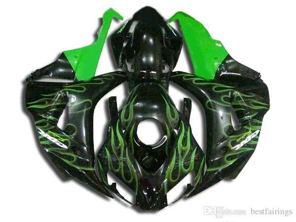 Brandneue Verkleidungen für Honda CBR1000RR 2006 2007 black green flames Spritzguss-Verkleidungsset CBR 1000 RR 06 07 VC29