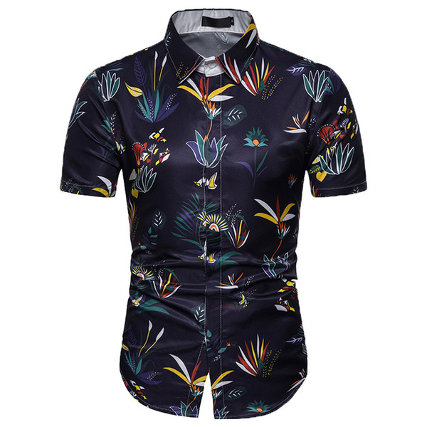 Summer Casual Mens Shirt 3D Color Print Trend Color Short-sleeve Shirt hawaiian shirts chemise homme mens shirts casual slim fit