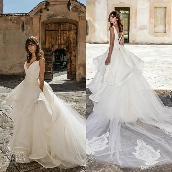 Pinella Passaro 2020 A линия Свадебное платье V шеи шнурок органзы оборками Тюль развертки Поезд Плюс Размер Свадебные платья Vestidos De Noiva