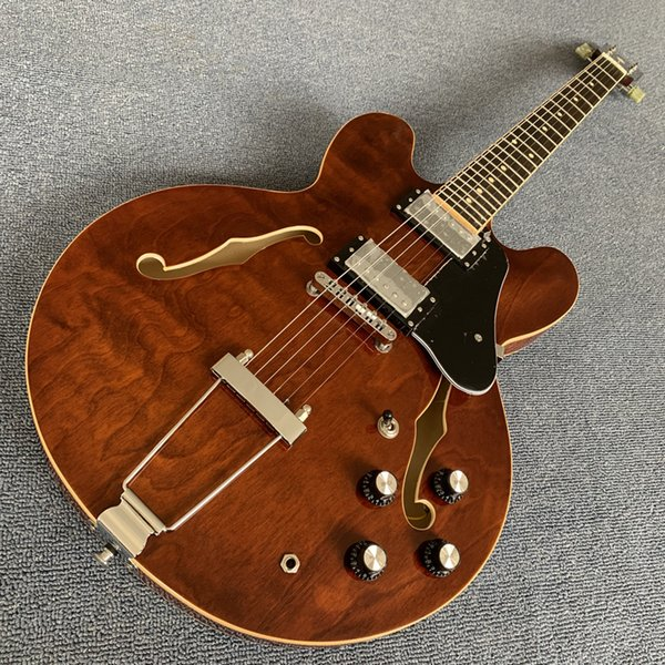 Yeni stil yüksek kaliteli içi boş gövde caz elektro gitar, Gülağacı klavye, Çift F delik elektro gitar, Krom kaplama hardware1709