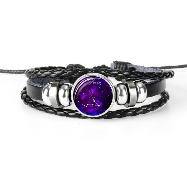 New Fashion Simple Leather Rope Beaded Wrap Bracelet Bijoux 12 Constellations Zodiac Pisces Time Gem Glass Cabochon Women Men Unisex Jewelry
