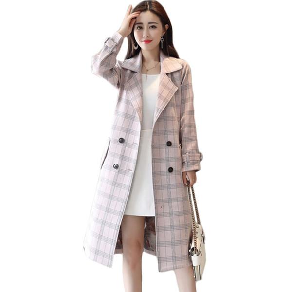 Novas mulheres treliça windbreaker casaco primavera outono fino longo trench coats das mulheres coreano de alta qualidade café cor sobretudos a1106