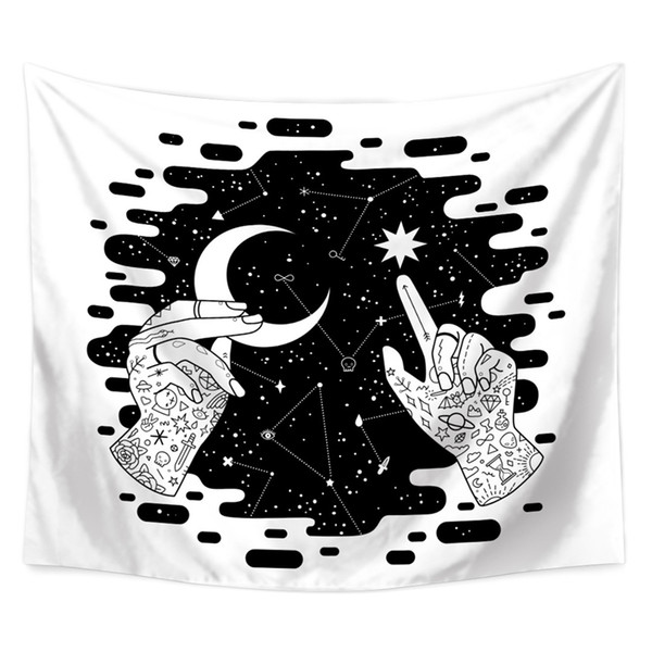 Black White Wall Tapestry Mandala Wall Hanging Night Sky Hippie Tapestry Moon Art Carpet Throw Rug Cloth Tapestries Celtic Tapestries Wall Hangings
