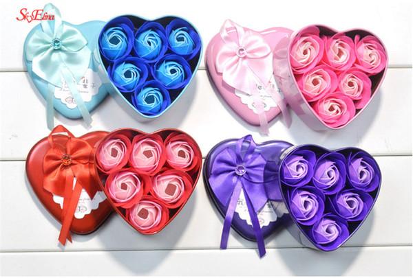 Sabonete de banho perfumado Rosa Sabão Pétala de flor com caixa de presente para decoração de casamento Dia dos namorados caixa de presente do dia dos professores 5z