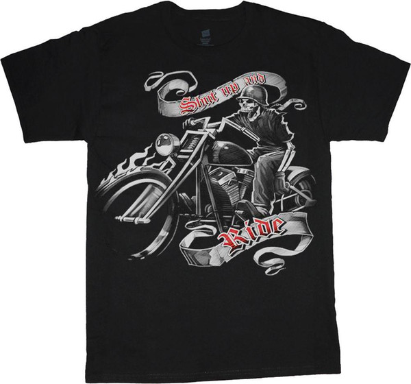 mens designer t shirts shirt big and tall t-shirt Shut up and ride biker skull tee shirt tall shirts for men