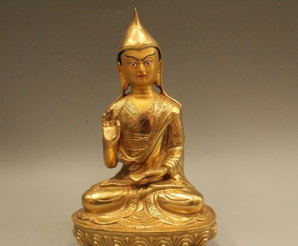 "9""Tibet Tibetan Buddhism Bronze Gild Seat Je Tsongkhapa Buddha Statue Sculpture"