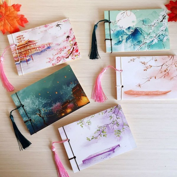 Chinese Style Retro Handmade Tassels Sketch Journal Notebook Diary Book Paper Notepad Stationery Weekly Planner