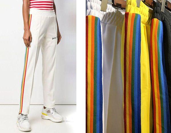 Il popolare logo europeo ed americano PALM ANGELS Rainbow Webbed Pantaloni Leisure Sport Pantaloni da uomo e da donna Designer Fit Type