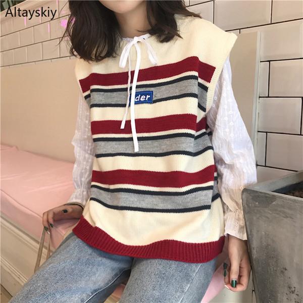 Gilet donna stampato Harajuku Retro scollo a V inverno lavorato a maglia stile coreano Pullover Leisure Womens Trendy colore misto maglia Ladies New
