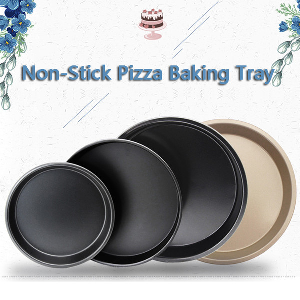 Non-Stick Pizza Baking Tray Round Deep Dish Pizza Pan Pie Tray Carbon Steel Cake Pastry Baking Mould Pan Pattern VT0240