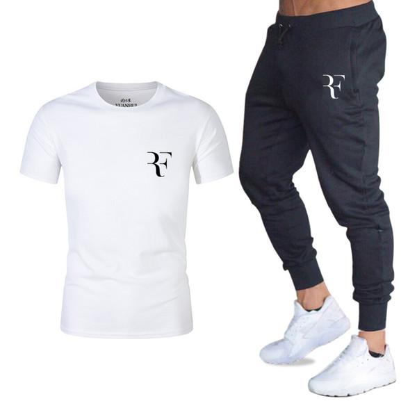 2019 FashionStyle Été Ensembles Roger Federer logo parfait imprimé T-shirts + pantalons RF costume 2 pièces survêtement Marque Gymnases costume