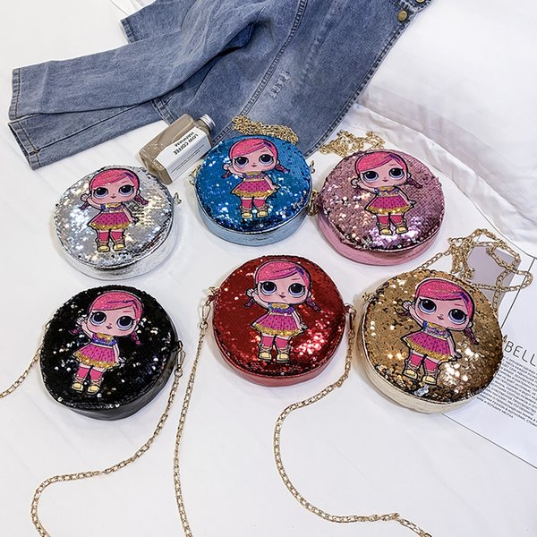 6styles Doll sequin chain round bag giltter crossbody shoulder bag summer party outdoor travel pouch storsge phone bag kids gift FFA2084