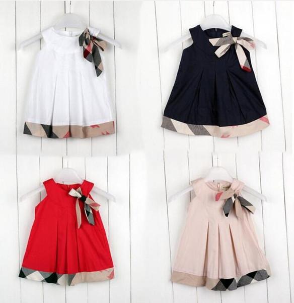 en stock été bébé filles robe sans manches de haute qualité enfants Designer Label enfants robes à carreaux arc jupes tops fille robe