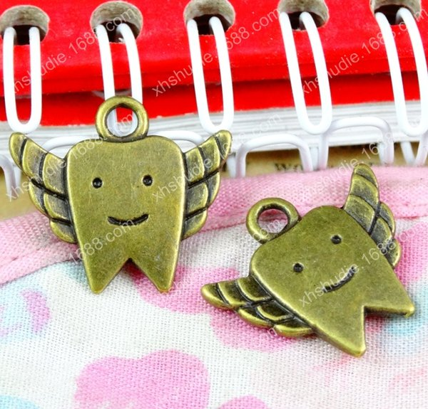 50pcs 17.8*19.8MM fashion antique tibetan bronze tooth fairy charm for bracelet vintage metal pendants earring handmade DIY jewelry making