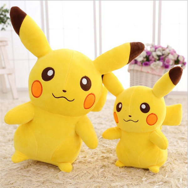 Venta caliente Detective Pikachu muñecas de felpa 30 cm muñecas Pikachu juguetes de peluche de dibujos animados de animales de peluche suave mejores regalos