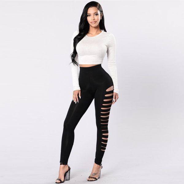 7caf6538a4799 cut out black leggings Promo Codes - High waist Black Side Cut Out Legging  Women Wear