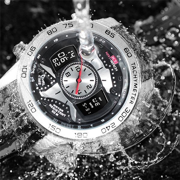 2019 Melhores Homens Esportes Relógio de Luxo À Prova D 'Água Relógio de Exibição Dupla de Pulso De Quartzo Relógios Novo Dropshipping relogio masculino