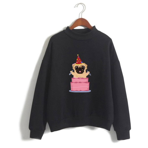 2019 New Cute pet pug printing warm high collar sweatshirt Women men long-sleeved sweatshirt trend casual street high collar